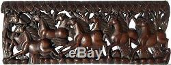 Lucky 8Horse Feng Shui Wood Carved Wall Panel. Tropical Home Decor. 35.5x13.5