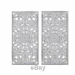 Luxury 2pc White Botanical Wood Panel Carved Wall Panel Set 15x31