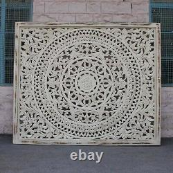 MADE TO ORDER Dynasty Hand Carved Indian Wooden Carved Panel Bedhead White wash