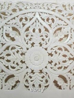 MADE TO ORDER Floral Hand Carved Indian Solid Wood Bed Panel Bed Headboad White