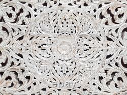 Mandala Hand Carved Indian Solid Wood Bedhead Panel Floral Whitewash 200 cm