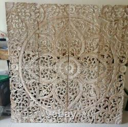 Mandala Headboard King White Wash Wood Carving Panel 180 x 180 Cm Wall Hanging
