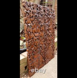 Master Carved Teak Wood 2 Piece Lily Lotus Flowers, Roses, Wall Panels, Wall Art