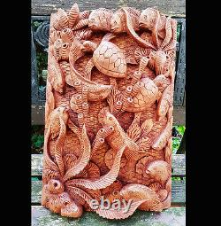 Master Carved Turtles, Fish Hand Carved Relief Wall Panel, Sealife, Wall Art, Asia