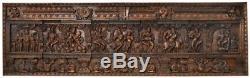 Master Wood Carved Krishna Panel Fluting Jai God Hindu 28 x 95Large India 57KG