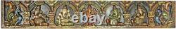 Masterpiece Music Ganesha Panel 11.5x71 God Hindu Hands Craft Wood Carved 10KG