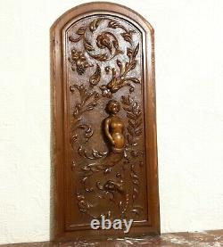 Mermaid scroll leaves wood carving panel Antique french architectural salvage