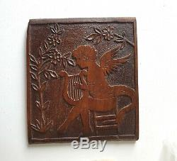 Musician winged angel Wood carving Panel Antique French architectural salvage