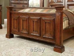 NEW Old World Style 5 piece Bedroom Set in Cherry Brown w. King Panel Bed IDAH