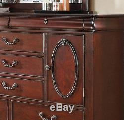 NEW Old World Style Cherry Brown 5 piece Bedroom Set with King Size Panel Bed IAAS