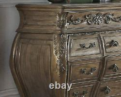 NEW Traditional 5 pieces Brown Oak & Fabric Bedroom Set w. King Panel Bed IAAP
