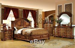 NEW Traditional Warm Brown Oak Bedroom Furniture 5pcs Queen Panel Bed Set ICAF