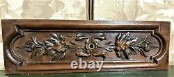 Oak leaf wood carving pediment Antique french architectural salvage panel trim