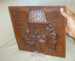 Old Dutch Antique High Relief Carved Oak Wood Furniture Panel Tavern Scene