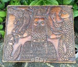 Old Vintage Antique African Benin Tribe Stool Carved Relief Panel Of An Oba AF
