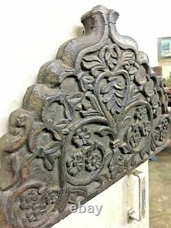 Old Vintage Hand Carved Flower Design Wall Hanging Wooden Panel/singhasan