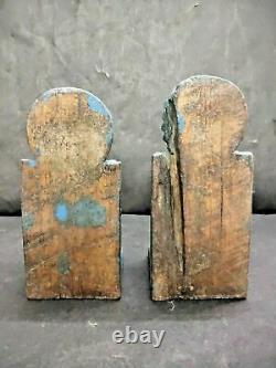 Old Vintage Rare Hand Carved Peacock Figure Wooden Door Bracket / Panel Pair
