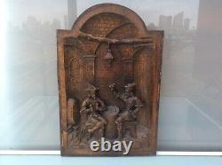 Old Wood door panel carved oak player cards french middle ages Castle tavern