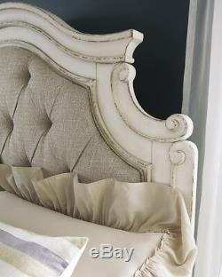Old World Antique White Bedroom Furniture 5pcs with King Fabric Panel Bed IA0D