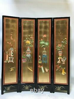 Oriental furniture screen 6'x4 panels gold lacquer screen