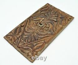 Original Old Antique Fine Hand Carved Wooden Panel With Brass Hook Hanger