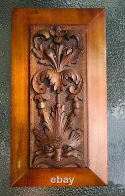 PAIR (2) Antique Carved Architectural Solid Wood Panels with Faces 6 x 10.75