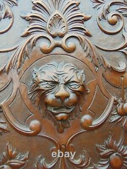 PAIR ANTIQUE 19th CENTURY FRENCH CARVED GOTHIC LION CHIMERA HEAD WOODEN PANELS