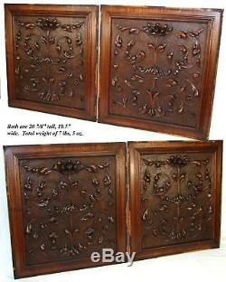 PAIR Antique Victorian 21x19 Carved Wood Architectural Furniture Door Panels