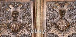 PAIR OF LARGE ANTIQUE SOLID OAK CARVED WOOD PANELS CARVINGS FRAMED 1890 25x12.5