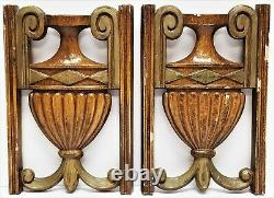 PR Antique Carved Painted Wood Architectural Salvage Roman Style URN Panels 7.5