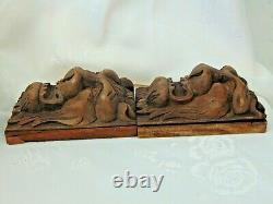 Pair Antique French Black Forest Wood Carved Gothic Chimera Lion Head Panels