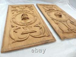 Pair Antique French Carved Solid Wood OAK Doors Panels Salvage Medieval Gothic 5