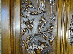 Pair Antique French Carved Wood Door Panel Gothic Chimera Walnut