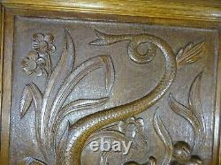 Pair Antique French Carved Wood Oak Door Panel Gothic Chimera- Griffin-Dragon