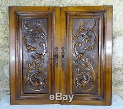 Pair Antique French Renaissance Solid Walnut Carved Wood Door/Panel Chimera