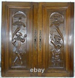 Pair Antique French Solid Oak Carved Wood Door/Panel A Couple of Acrobats