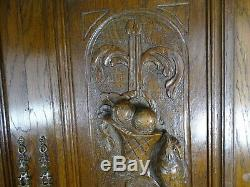 Pair Antique French Solid Oak Carved Wood Door/Panel Birds