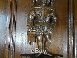 Pair Antique French Solid Oak Carved Wood Door/Panel- Couple Medieval Characters