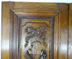 Pair Antique French Solid Oak Carved Wood Door/Panel Louis XVI Torch Quiver