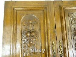 Pair Antique French Solid Oak Carved Wood Door/Panel Ribbon & Fruits