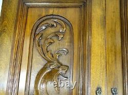 Pair Antique French Solid Walnut Carved Wood Door/Panel Dragon Chimera Gothic