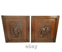 Pair Antique French hand Carved Oak Door Panels Reclaimed Architectural Birds
