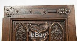 Pair Antique Gothic Revival Door Panel Hand Made Carved Wood Salvage