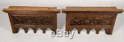 Pair Antique Gothic Revival Panel Hand Made Carved Wood Salvage
