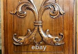 Pair Dolphin scroll leaf wood carving panel Antique french architectural salvage