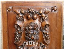Pair French Walnut Wood Carved Panel Door Furniture Bacchus Gargoyle Griffin Win
