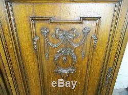 Pair L Carved Wood Oak Kitchen Cabinet Doors Panels Reclaimed Architectural Deer