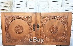 Pair art deco flower architectural door Antique french wooden salvaged panel