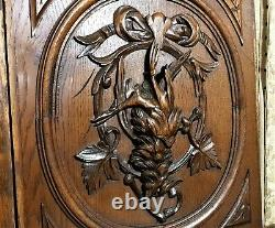 Pair black forest hunting carving panel Antique french architectural salvage