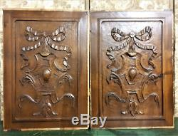 Pair bow blazon wood carving panel antique french wooden architectural salvage